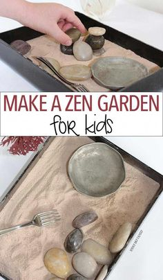 Make a zen garden for kids! This mini Japanese rock garden craft is inspired by the Peace Tree of Hiroshima and is perfect for a Family Dinner Book Club table craft! Why buy a kit when you can make this zen garden with a few materials around your home? Japanese Rock Garden, Mini Zen Garden, Zen Rock Garden, Glass Garden, Mindfulness For Kids, Mindfulness Activities, Mindfullness Activities For Kids, Mindful Activities For Kids, Diy Home