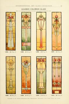 View the stained glass windows that were commercially available during the Art Nouveau era of The below plates are from the 1914 catalog of the National Ornamental Glass Manufacturers Association of the United States and Canada. Antique Stained Glass Windows, Stained Glass Designs, Stained Glass Panels, Stained Glass Projects, Stained Glass Patterns, Leaded Glass, Stained Glass Art, Mosaic Glass, Beveled Glass