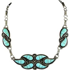 Zuni Channel Inlay Necklace with Turquoise Teardrops