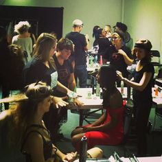 Bellus students styling models at a Fashion Week San Diego photoshoot! #fwsd #hair #makeup