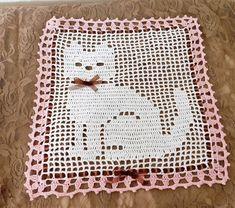 Filet Crochet Doily, Custom Cat Decor Gift by DsNattyThreads on Etsy Crochet Butterfly Pattern, Crochet Stitches Patterns, Crochet Cross, Crochet Chart, Crochet Heart Blanket, Fillet Crochet, Crochet Cushions, Cat Decor, Cat Gifts