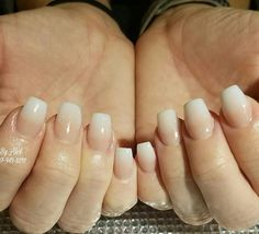 Ombre nude pink and white acrylic #nailsalon #miamisburg #Centerville