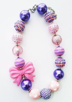 Lavender Pink Purple Chunky Birthday Necklace