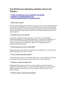 Top 20 Interview Questions And Their Answers For Freshers  13 Interview  Questions To Access Candidateu0027s
