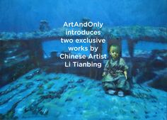 Available for sale from ArtAndOnly, Li Tianbing, Self-Portrait Underwater Oil on canvas, 157 × 198 cm Contemporary Artwork, Contemporary Artists, Event Marketing, Naive Art, Art World, Underwater, Oil On Canvas, It Works, Writer