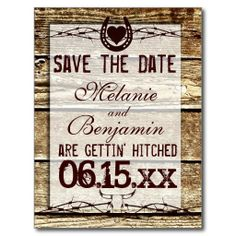 Rustic Wood Save the Date Getting Hitched Postcards for a country wedding.