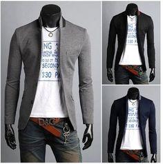 Korean style Men's 2 Tone Mandarin Collar Slim Casual Blazer