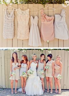 Even mismatched works for me as long as they are muted tones like this. Mismatched Bridesmaid Dresses - cute photo idea