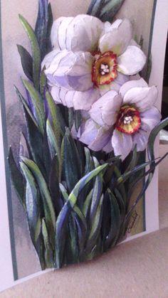 Pintura en relieve 3d Paper Art, 3d Paper Crafts, Decoupage Printables, Decoupage Art, Ceramic Flowers, Flower Wall, Clay Art, Sculpture Art, Canvas Art