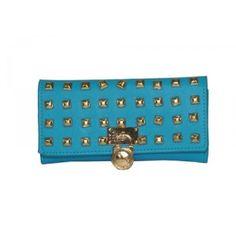 Michael Kors Blue studded wallet with lock, envelope