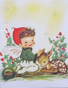 Eva Harta Xmas Greeting Card Pixie Elf Petting Deer Fawn
