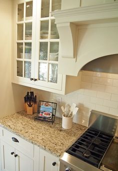 """Seeded Glass"" Cabinet Doors & Giallo Ornamental Granite"