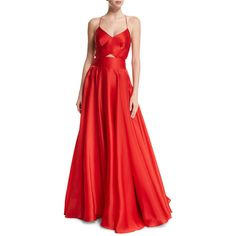 Milly Sleeveless Crisscross-Bodice Organza Ball Gown ($995) ❤ liked on Polyvore featuring dresses, gowns, poppy, red sleeveless dress, milly dresses, fitted dresses, red dress and red cut out dress