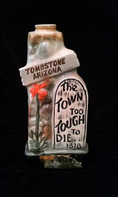 Vintage Jim Beam Decanter Bottle Tombstone AZ The Town Too Tough To Die 1970