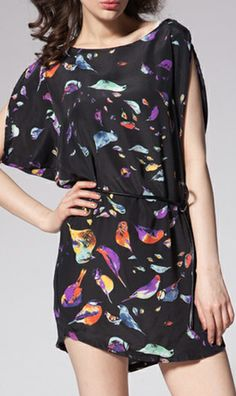 Bird print round collar sleeveless dress WQZ9474 Black  #AHAI #FASHION #WOMEN