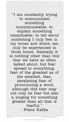 wow, that sums it up for me, fear controls my life so much lately, however I am slowly learning how to let go, and let God run the show.....It's a way of living and some days are better then others. When I stop living in fear, my day is so beautiful.**