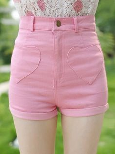 shorts heart cute kawaii asian japanese fashion korean fashion pink summer spring casual denim jeans outfit girly