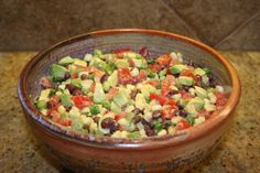 Black Bean Salsa Dip: 1-2 Avocado, 2 cans black beans, 1 can corn, 1 can diced tomato with green chilis, 1T red wine vinegar, 3-4T lime juice, tortilla chips