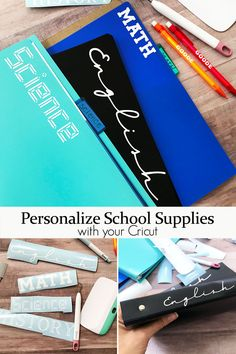 Grab your Cricut machine and start to label school supplies for this next school year. This quick and easy way to personalize your supplies is perfect for back to school season! Monogram School Supplies, Diy Back To School Supplies, Personalized School Supplies, School Supplies Highschool, School Supplies Organization, Labeling School Supplies, Locker Organization, School Ideas, Organizing