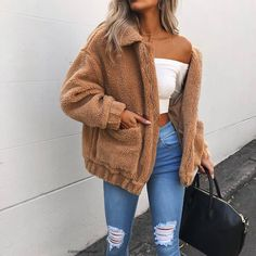 Cute Cozy Warm Fall Back to School Outfit Ideas for Teens for College - Aurora Popular Oversized Soft Comfy Sherpa Teddy Jacket Pixie Coat I am gia dupe - www. Source by larahaunfelder outfit ideas for women casual Winter Outfits For Teen Girls, Stylish Summer Outfits, Cute Fall Outfits, Fall Winter Outfits, Winter Ootd, Winter Outfits Tumblr, Winter Outfits For School, Trendy Outfits For Teens, Winter Wear