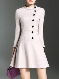 Pink 3/4 Sleeve Buttoned Flounce Mini Dress