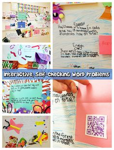 Interactive Word Problem Display - Students designed multiplication word problem posters and created QR codes for the answers. Now students can solve other students' problems and self-check by scanning the QR codes.