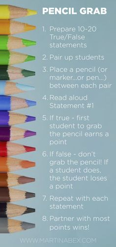 Pencil Grab is a super easy game to use in your classes: students play in pairs, and all they need is a pencil! All YOU need is a list of a T/F statements--which you can make up on the fly! French Classroom, Spanish Classroom, Teaching Spanish, Teaching English, Spanish Teacher, Spanish Activities, Teaching Activities, Teacher Resources, Spanish Games