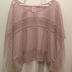 Free People Top Beige and lace top. Size M. Free People Tops Blouses