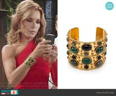 Lauren's gold cuff at the Opera on The Young and the Restless.  Outfit Details: https://wornontv.net/67498/ #TheYoungandtheRestless