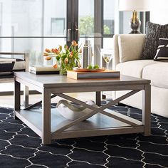 Highline Cocktail Table Rachael Ray Home by Legacy Classic in Coffee and Cocktail Tables. The Highline Occasional Table Collection by Rachael Ray Home by Legacy Classic is a reflection of the heart of New York City: Bold and fresh. Born of clean, modern styling and rich textural finishes, these pieces invite you to relax without all the clutter, and unwind in beautiful surroundings. Crafted of Hardwood Solids with White Oak Veneers, in a soothing Greige finish, and accented with soft… Living Room Update, Home And Living, Living Room Decor, Living Rooms, Coffee Table Styling, Coffee Table Design, 2 Coffee Tables, Coffee Table Ireland, Classic Furniture