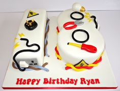 18th Electrician themed cake. www.cakeseven.wix... Facebook- Cake7. Twitter- Cake7 email: cake.seven@aol.co.uk phone: 07731 882 988