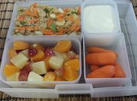"""Banzai!  Your child will love this healthy JAPANESE themed Bento lunch class.  Bento is a Japanese style of eating where lunch items are packed into a wooden or plastic box with individual compartments. Bento lunches consist of a balance of food groups, colors and textures.Your child will make """"Unrolled Sushi Salad"""", Samurai Fruit Salad, and a fresh cut veggies.   Be a Samurai Warrior and register your child today!"""