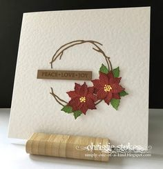 Here is a card for the challenge at CAS Christmas , which this time is to include Winter Flowers. My card is mainly die cuts co. Cas Christmas Cards, Inka Gold, Stepper Cards, Poinsettia Cards, Simon Says Stamp Blog, Magazine Crafts, Christmas Challenge, Winter Flowers, Penny Black