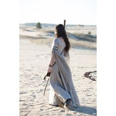 Fantasy Tunic Labyrinth Flax Dress Linen Dress Medieval Costume (555 BRL) ❤ liked on Polyvore featuring dresses, silver and women's clothing
