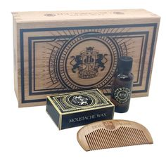 A brilliant beard grooming box containing beard oil, a beard comb and moustache wax, all contained in a beautiful themed box.