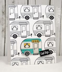Kasia Curry for Avery Elle: Happy Camper clear stamps