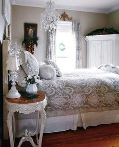 Shabby Chic Bedroom Design, - love the side table!!