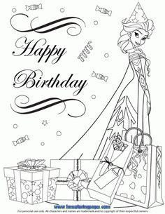 Frozen Cast Elsa In Party Hat Coloring Page Frozen Coloring Pages, Princess Coloring Pages, Animal Coloring Pages, Coloring Book Pages, Birthday Cards To Print, Happy Birthday Printable, Happy Birthday Coloring Pages, Valentines Day Coloring, Happy Birthday Princess