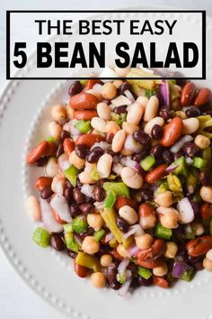 The Best Easy 5 Bean Salad Recipe is the perfect side dish for all your potlucks, cookouts, a BBQ's! It's a crowd-pleaser and is budget friendly! recipes easy recipes easy recipes easy recipes easy easy appetizers easy on a budget Lettuce Salad Recipes, Fresh Salad Recipes, Cabbage Salad Recipes, Bean Salad Recipes, Healthy Salad Recipes, Vegetarian Recipes, Cooking Recipes, 5 Bean Salads, Three Bean Salad