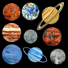 Beautiful Solar System watercolour and pencil paintings. Ideal for jewellery making, magnets, scrapbooking, cards..  All the images are the same size, but can be easily resized.  You will receive 4 Zipped Folders containing:  9 planet paintings with a transparent background in PNG format, for you to arrange in your own designs. 300dpi  The same 9 planet paintings unshaded, in PNG format, with a semi-transparent shade file for you to place over each image in the position you wish.  Files may…