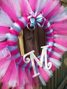 Tulle Tutu Ballerina Princess Wreath with Wooden by KraftinMommy  This would be cute for a little girls room! Put a mirror in the middle!