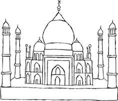 Coloring books for muslim children coloring mosque arabic for Taj mahal coloring page