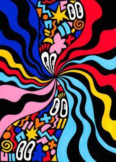 Pattern, Shape, Fluidity, Versions :: A Solo Show by Hattie Stewart Trippy Wallpaper, Retro Wallpaper, Graffiti Wallpaper, Trippy Drawings, Art Drawings, Psychedelic Drawings, Psychedelic Pattern, Drawing Art, Trippy Painting