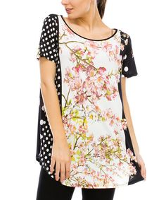 Another great find on #zulily! Floral & Polka Dot Boatneck Tunic by Saint Paradise #zulilyfinds