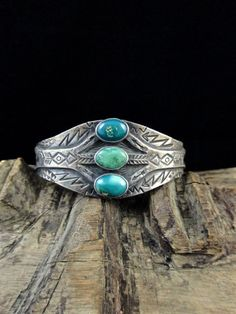 23g Vintage Old Pawn Fred Harvey Era Navajo Sterling Silver Cuff Bracelet w Beautiful Royston Turquoise! Exquisite Silversmithing Details!