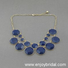 Navy Bubble Statement Necklace,Holiday Party,Birthday,Bridesmaid Gift,Beaded Jewelry,Wedding Necklace $16.00