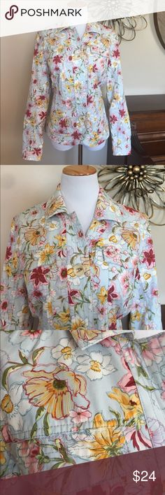 Coldwater Creek Size 14 Floral Button Up Jacket Excellent Condition! Size 14 from Coldwater Creek. This jacket is not so much for outdoor wear but as to be worn as an everyday outfit. Coldwater Creek Jackets & Coats Blazers