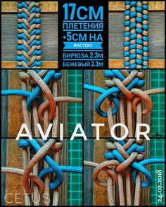 """Aviator"" Paracord Tutorial, Macrame Tutorial, Bracelet Tutorial, Paracord Ideas, Paracord Braids, Paracord Knots, 550 Paracord, Paracord Bracelet Designs, Bracelet Knots"