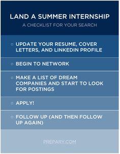 Checklist for landing a summer internship