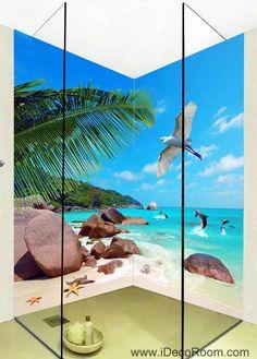 3D Wallpaper Tropical Sea Rock Beach Fish Beach Wall Murals Bathroom Decals Wall Art Print Home Office Decor Fish Bathroom, Bathroom Decals, Beach Bathrooms, Bathroom Wall Decor, Beach Wall Murals, Beach Wall Decor, Home Office Decor, Diy Home Decor, Wall Decor Design